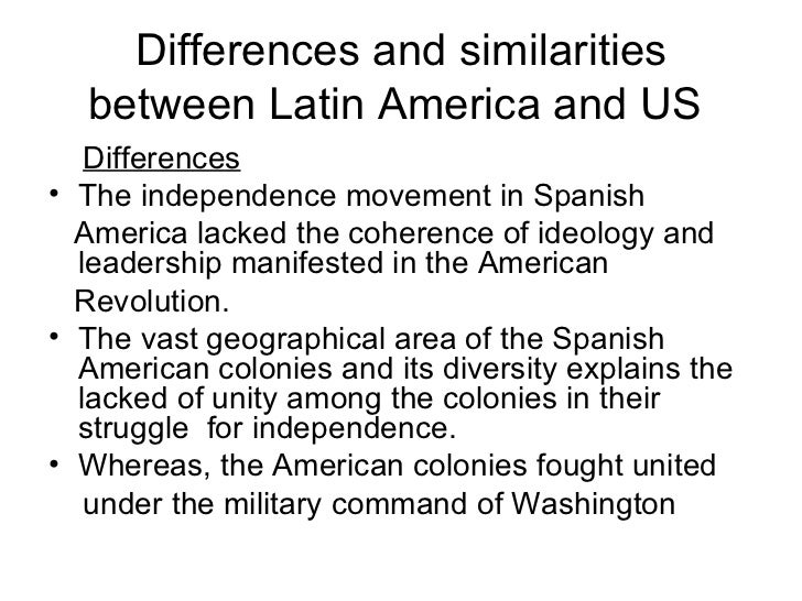 a comparison of the similarities and differences between latin america and the united states of amer What's the difference between north, latin, central, middle, south, spanish and anglo america it's a common geography question and the answer is not easy.
