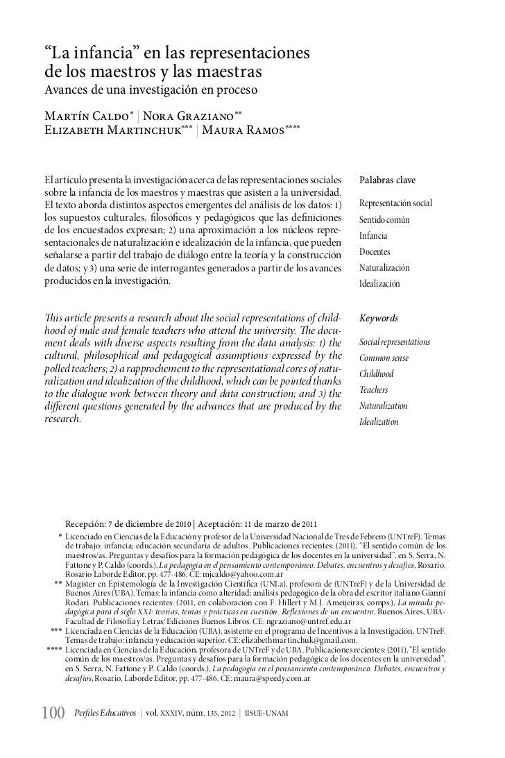 """""""La infancia"""" en las representacionesde los maestros y las maestrasAvances de una investigación en procesoMartín Caldo*   ..."""