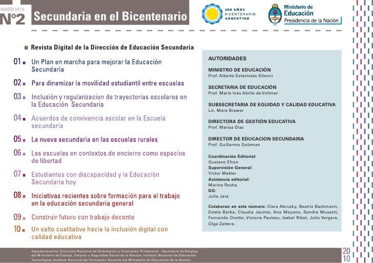 AGOSTO-2010N°2 Secundaria en el Bicentenario          .   Revista Digital de la Dirección de Educación Secundaria         ...