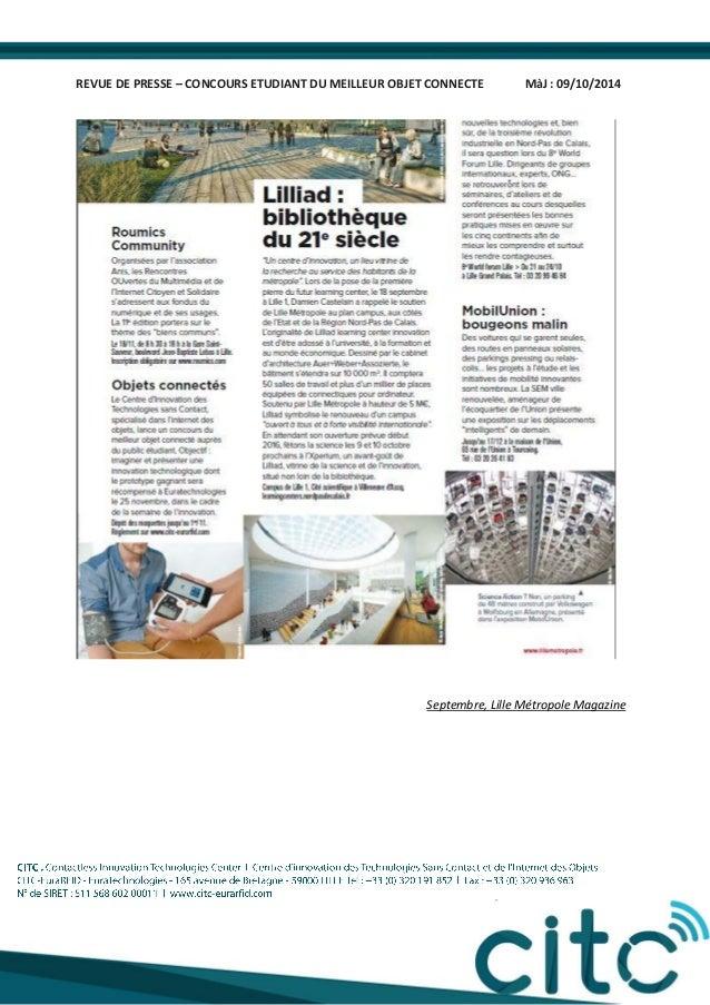 REVUE DE PRESSE – CONCOURS ETUDIANT DU MEILLEUR OBJET CONNECTE MàJ : 09/10/2014 Septembre, Lille Métropole Magazine