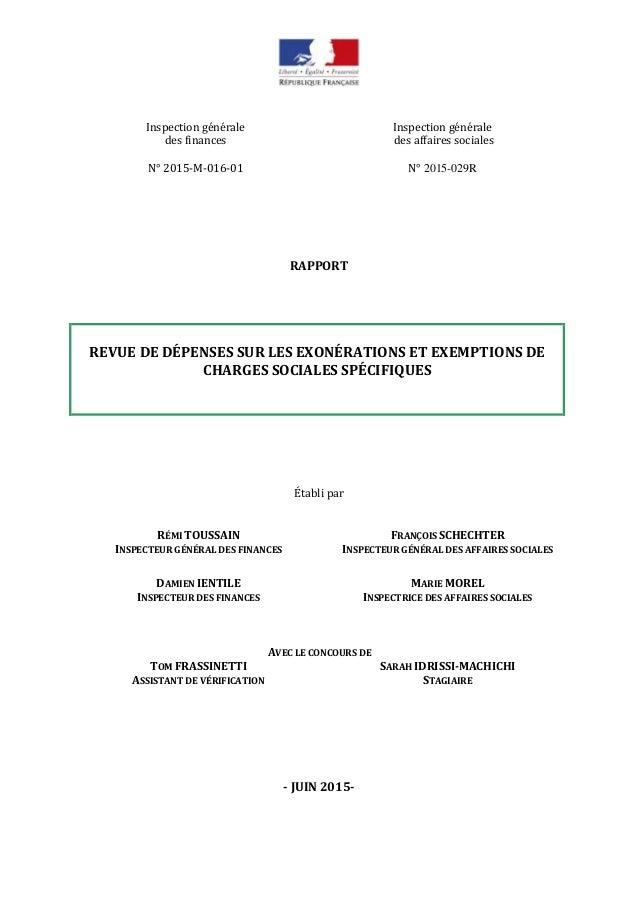 Inspection générale des finances Inspection générale des affaires sociales N° 2015-M-016-01 N° 2015-029R RAPPORT REVUE DE ...