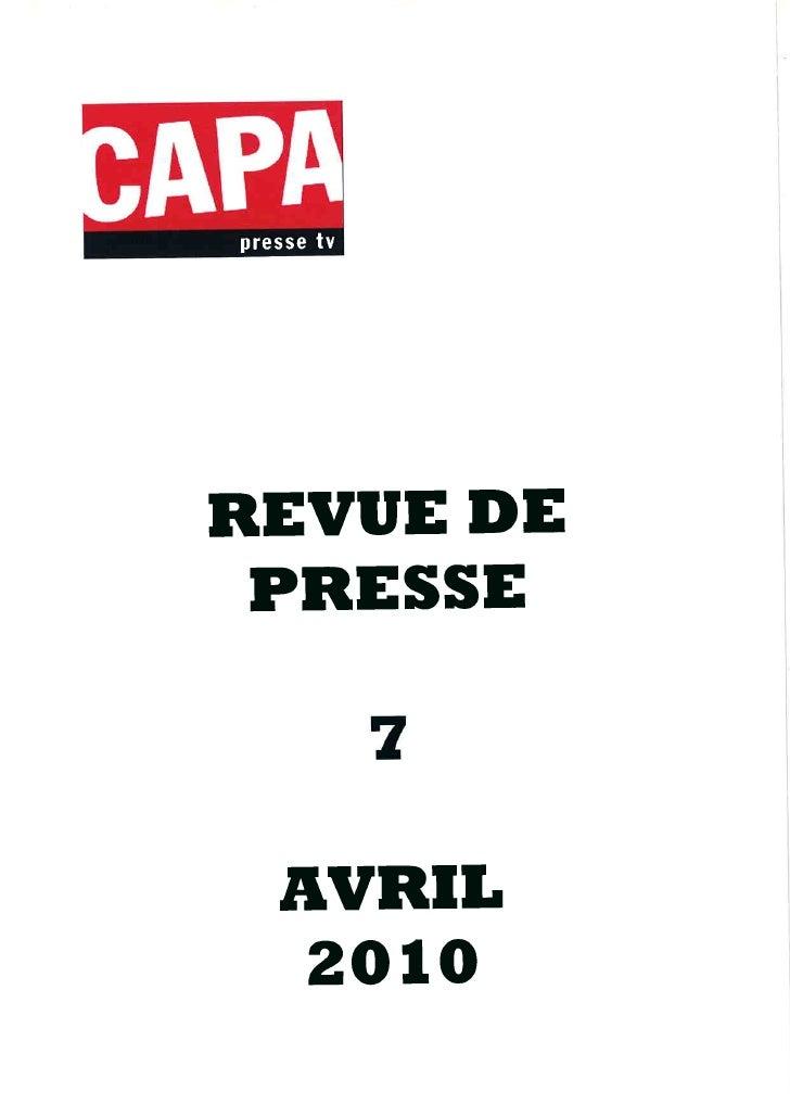 Revue de presse 07/04/2010