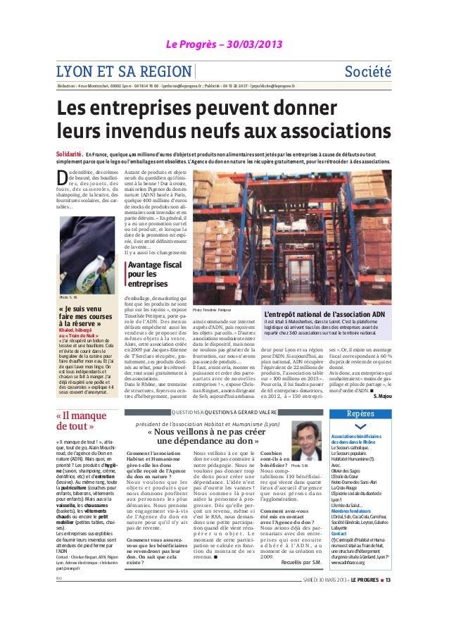 Le Progrès – 30/03/2013LYON ET SA REGION SociétéRédaction : 4 rue Montrochet, 69002 Lyon - 04 78 14 76 00 - lprrhone@lepro...