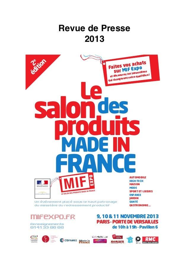MIF EXPO - Revue de presse 2013  / Presse ecrite & Dépêches