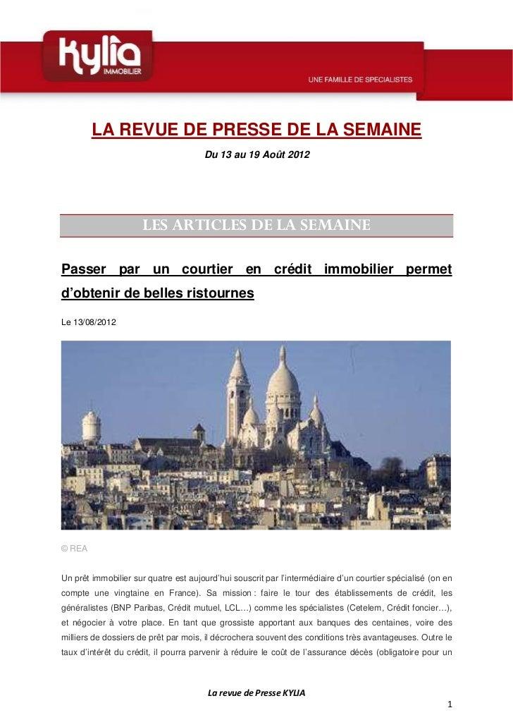 Revue de presse de la semaine 33   2012