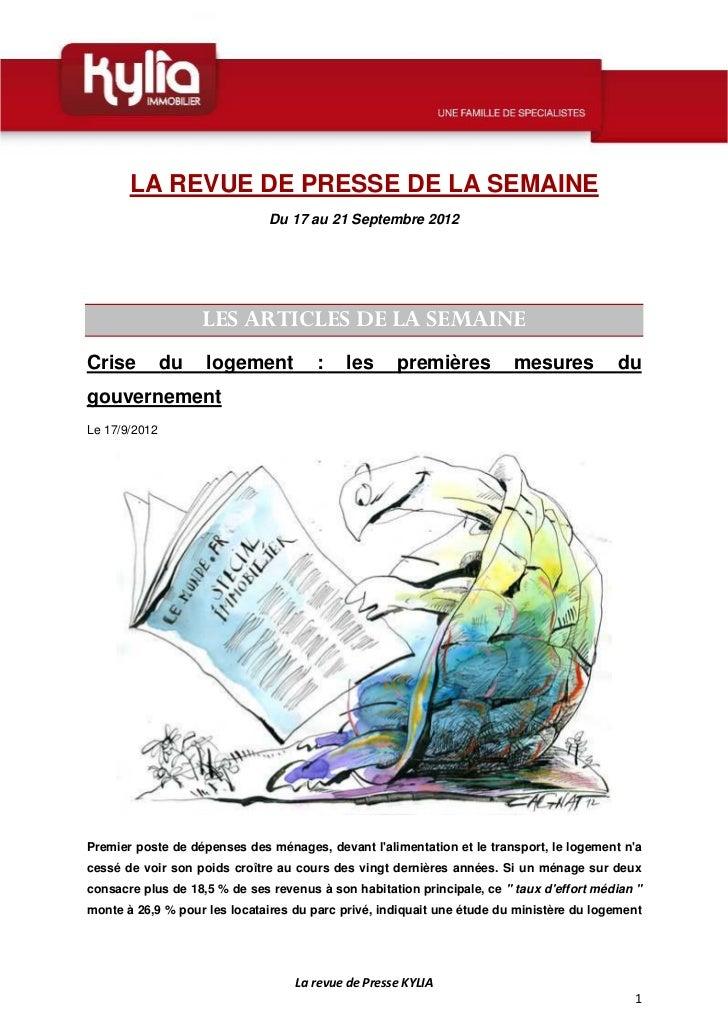 LA REVUE DE PRESSE DE LA SEMAINE                               Du 17 au 21 Septembre 2012                    LES ARTICLES ...