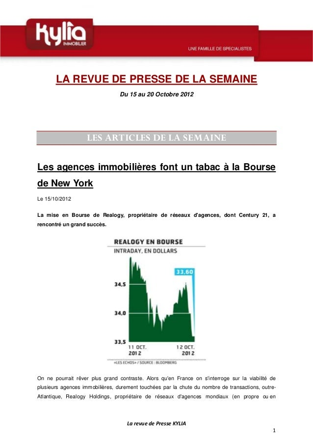 LA REVUE DE PRESSE DE LA SEMAINE                                 Du 15 au 20 Octobre 2012                    LES ARTICLES ...
