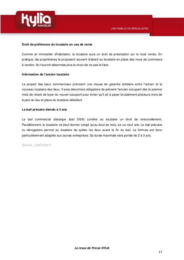 Revue de presse kylia semaine du 9 au 15 juin 2014 - Droit du locataire en cas de vente ...
