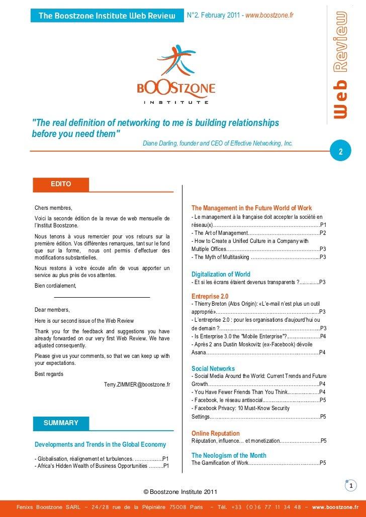 Boostzone Institute - Web Review - February 2011