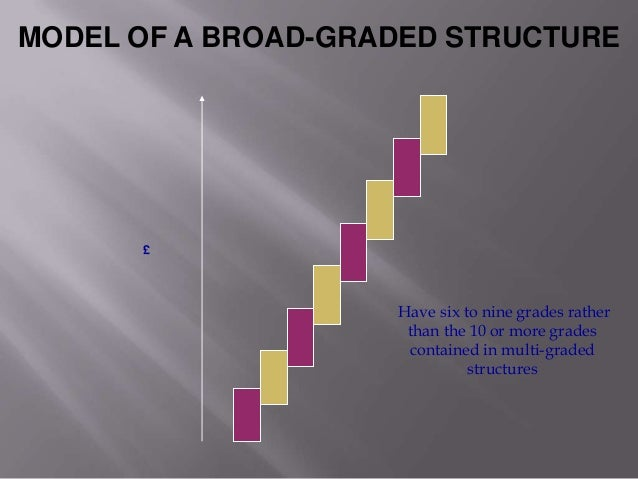 narrow graded pay structure Pay structures can be distinguished by two key characteristics: the number of grades, levels or bands and the width or span of each grade for example: • narrow-graded pay structures, often found in the public sector, typically comprise ten or more grades, with jobs of broadly equivalent worth in each grade.