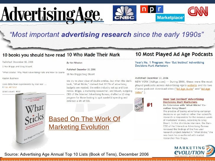 Based On The Work Of Marketing Evolution - Ad Age, Cover Story, August 2006 Source: Advertising Age Annual Top 10 Lists (B...
