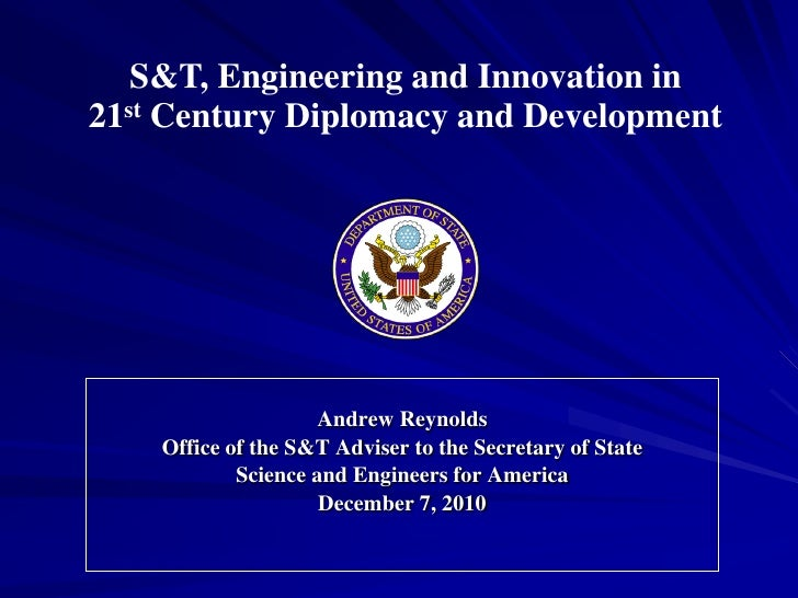 Science and Technology in Diplomacy