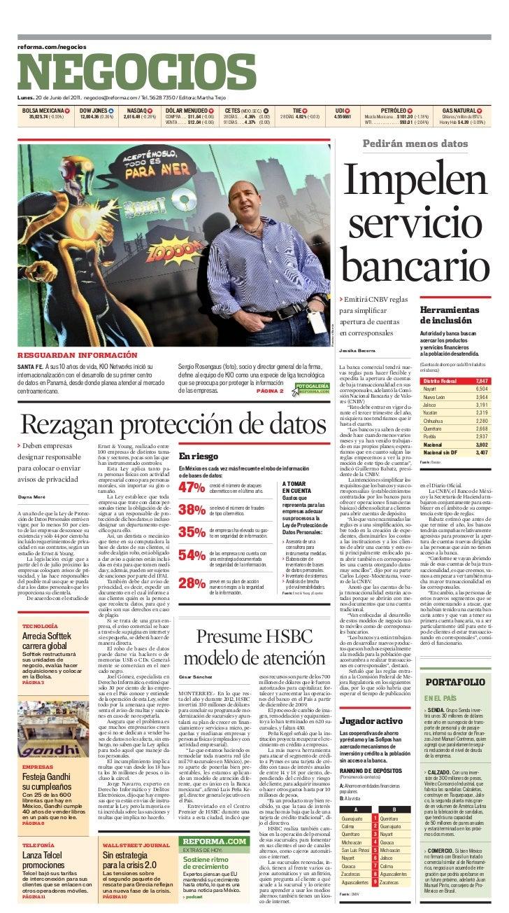 reforma.com/negociosLunes. 20 de Junio del 2011. negocios@reforma.com / Tel. 5628 7350 / Editora: Martha Trejo  BOLSA MExI...
