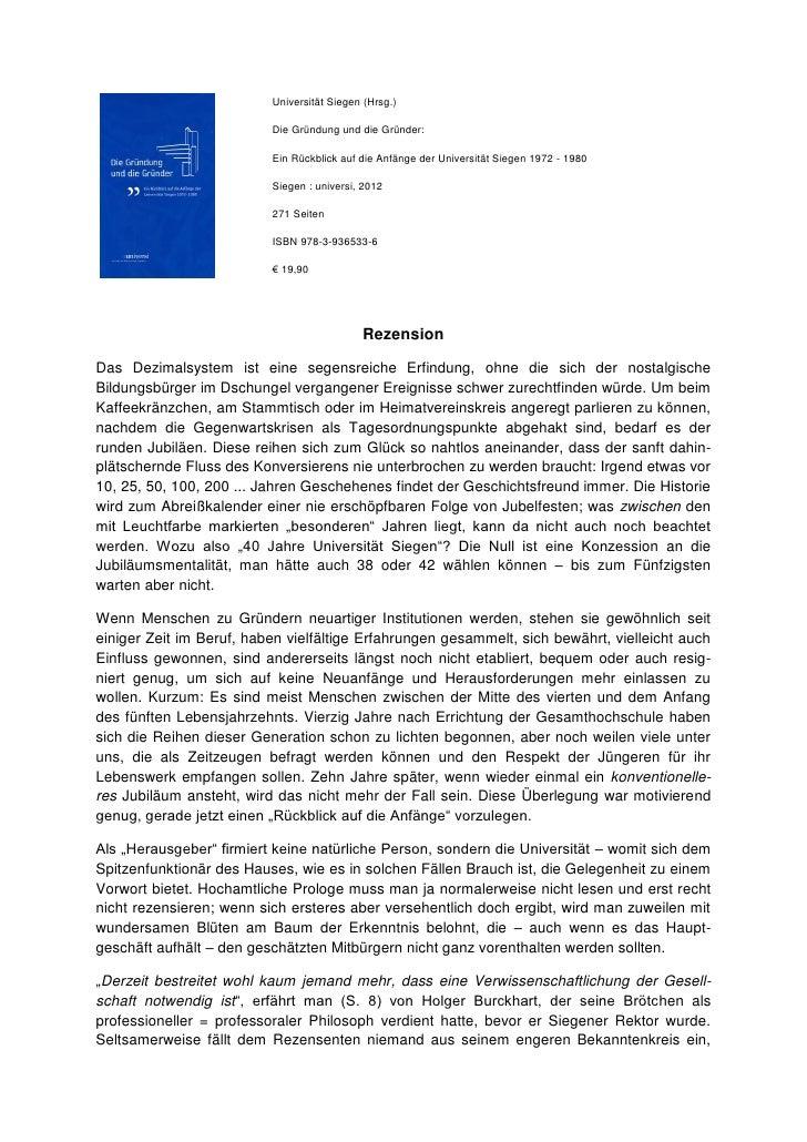 Universität Siegen (Hrsg.)                          Die Gründung und die Gründer:                          Ein Rückblick a...