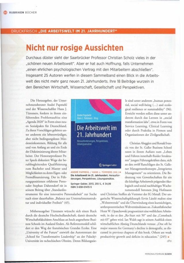 """Rezension """"Arbeitswelt im 21. Jahrhundert"""" mit Beiträgen von Dr. Christian Abegglen und Mag. Ronald Ivancic"""