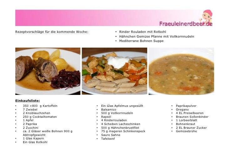 Rezeptvorschläge für die kommende Woche:               • Rinder Rouladen mit Rotkohl                                      ...