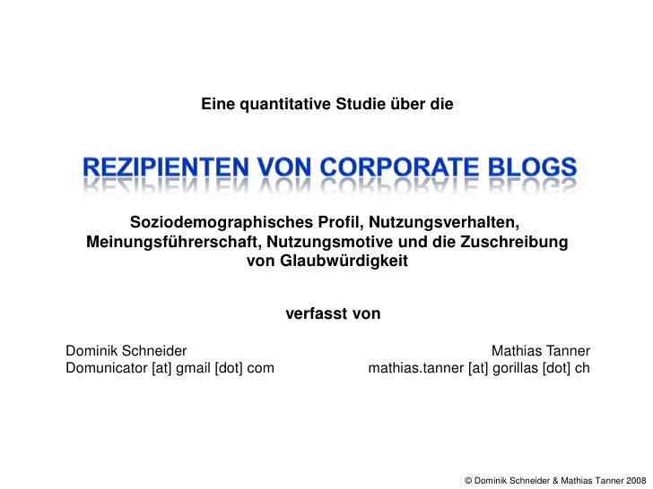 Rezipienten Von Corporate Blogs Schneider Tanner 2008