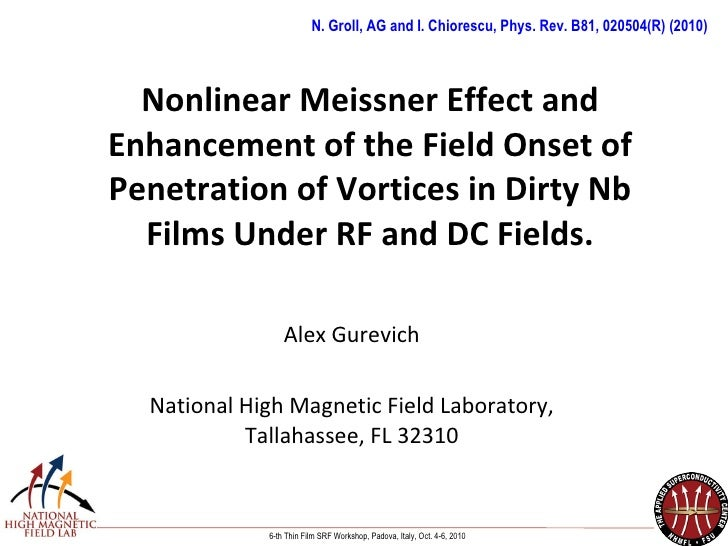 Gurevich - Nonlinear Meissner Effect and Enhancement of the Field Onset of Penetration of Vortices in Dirty Nb Films Under...