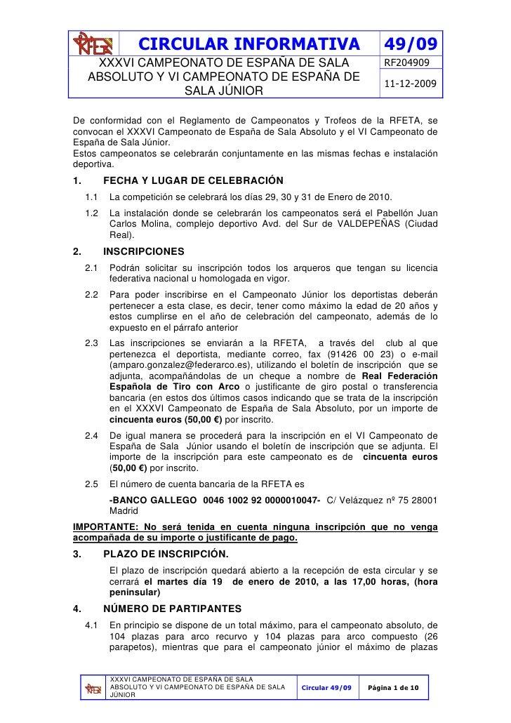 CIRCULAR INFORMATIVA                                        49/09       XXXVI CAMPEONATO DE ESPAÑA DE SALA                ...