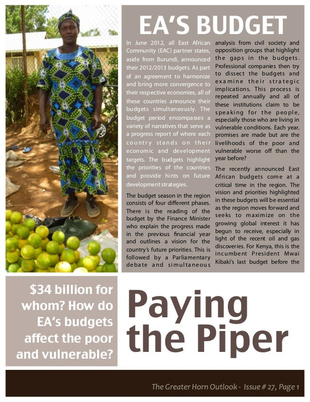 EA'S BUDGET                    In June 2012, all East African         analysis from civil society and                    C...