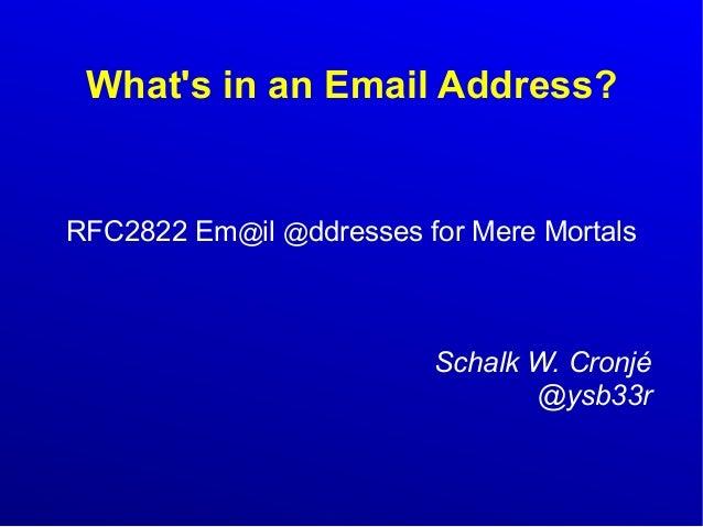 RfC2822 for Mere Mortals