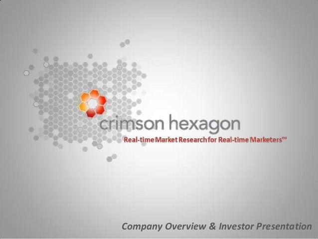 Company Overview & Investor Presentation
