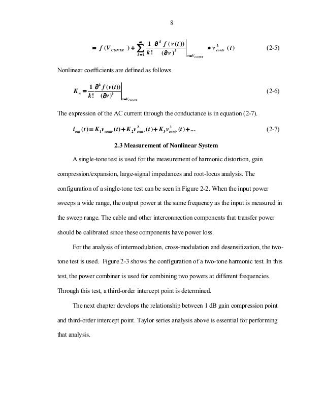Rf circuit non linearity characterization