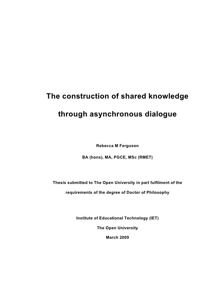 The construction of shared knowledge through asynchronous dialogue
