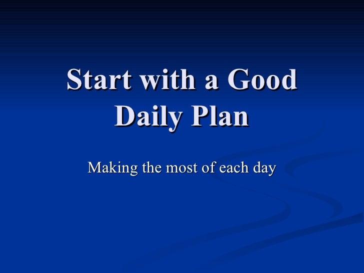 Rfg Startwitha Good Daily Plan