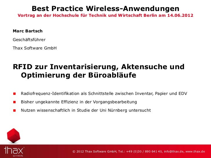 Best Practice Wireless-Anwendungen  Vortrag an der Hochschule für Technik und Wirtschaft Berlin am 14.06.2012Marc BartschG...
