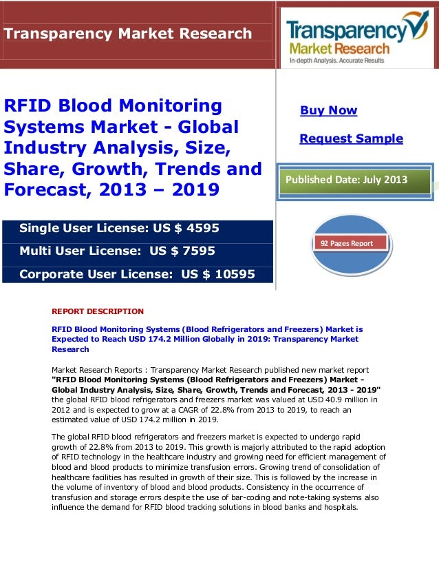 REPORT DESCRIPTION RFID Blood Monitoring Systems (Blood Refrigerators and Freezers) Market is Expected to Reach USD 174.2 ...