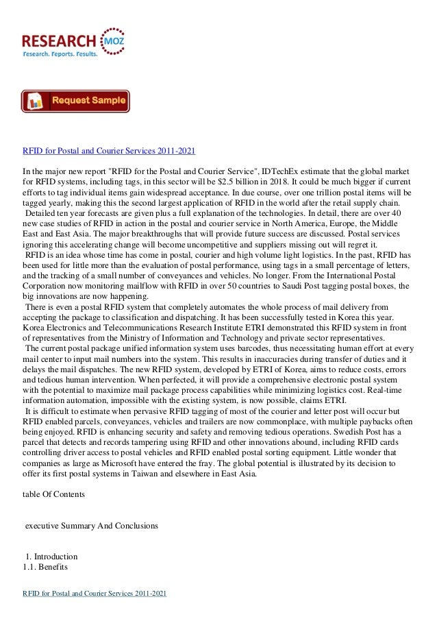 """RFID for Postal and Courier Services 2011-2021 In the major new report """"RFID for the Postal and Courier Service"""", IDTechEx..."""