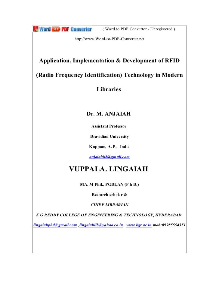 Application Implimentation of RFID Technology Modern Libraries