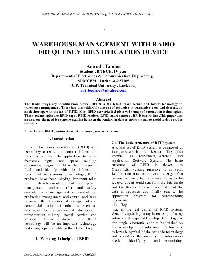 WAREHOUSE MANAGEMENT WITH RADIO FREQUENCY IDENTIFICATION DEVICE                                                         - ...