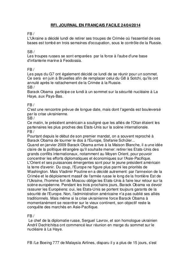 RFI. JOURNAL EN FRANÇAIS FACILE 24/04/2014 FB / L'Ukraine a décidé lundi de retirer ses troupes de Crimée où l'essentiel d...