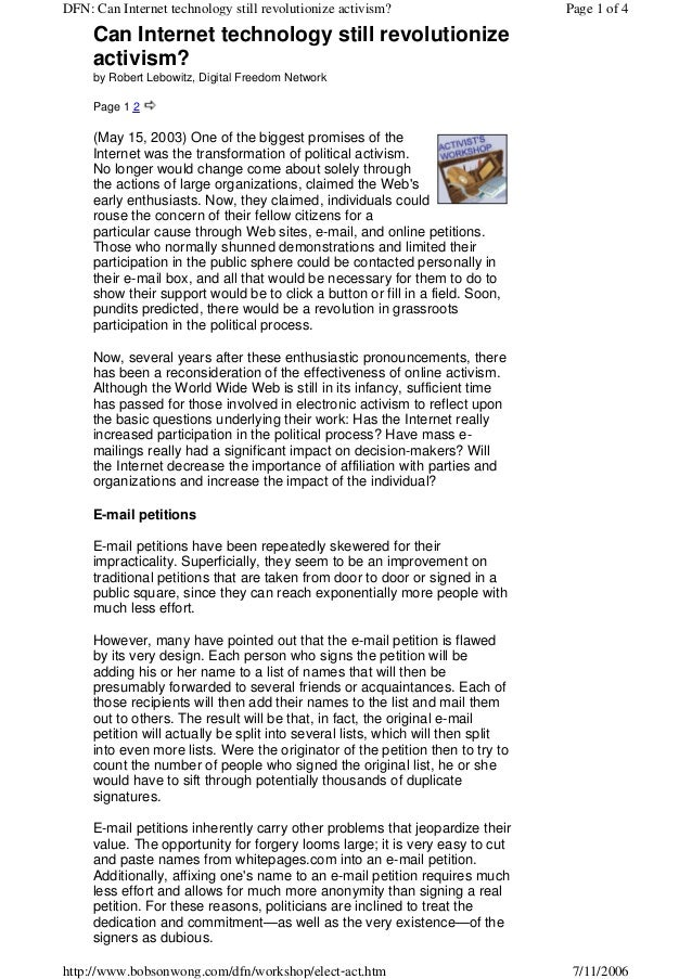 DFN: Can Internet technology still revolutionize activism?                       Page 1 of 4     Can Internet technology s...