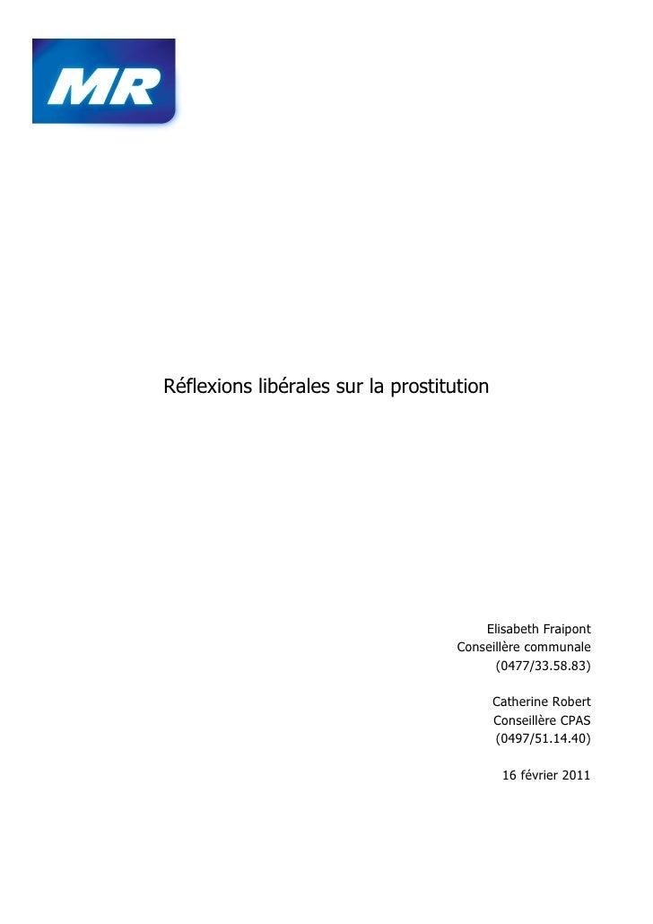 Réflexions libérales sur la prostitution                                        Elisabeth Fraipont                        ...