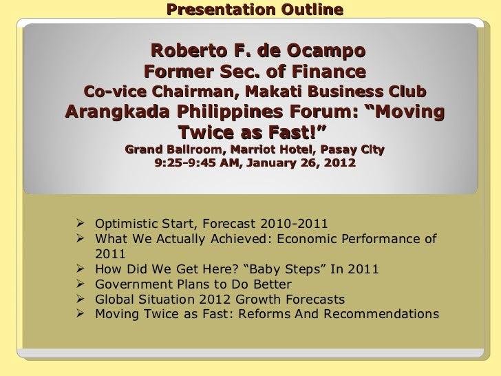 Presentation Outline   Roberto F. de Ocampo  Former Sec. of Finance  Co-vice Chairman, Makati Business Club Arangkada Phil...