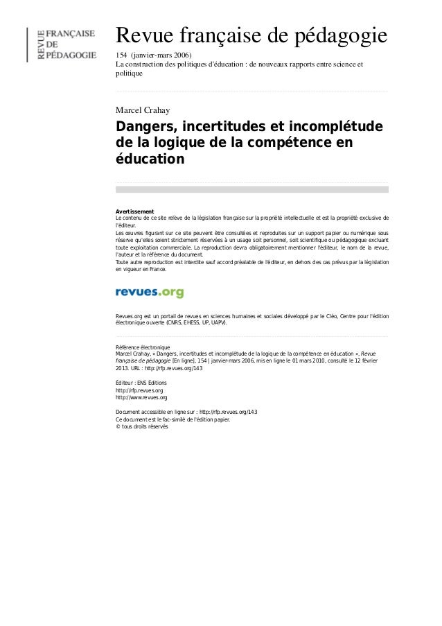 Crahay_dangers-incertitudes-et-incompletude-de-la-logique-de-la-competence-en-education