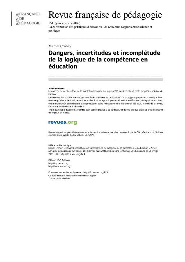 Crahay_dangers-incertitudes-et-incompletude-de-la-logique-de-la-competence-en-education