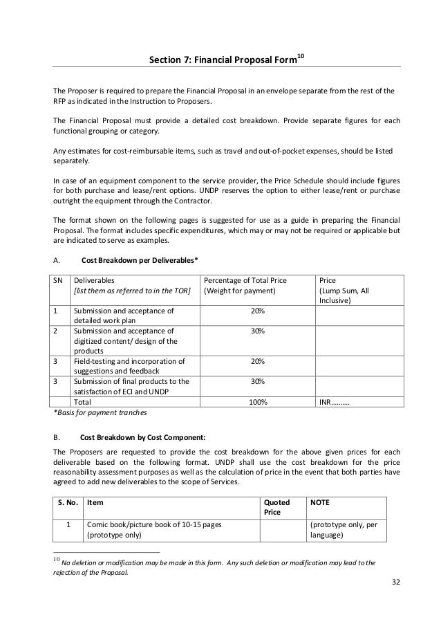 sample of financial proposal