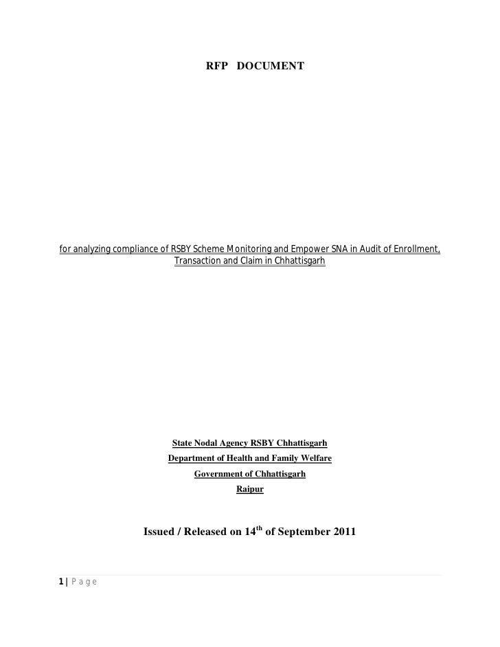 RFP DOCUMENTfor analyzing compliance of RSBY Scheme Monitoring and Empower SNA in Audit of Enrollment,                    ...