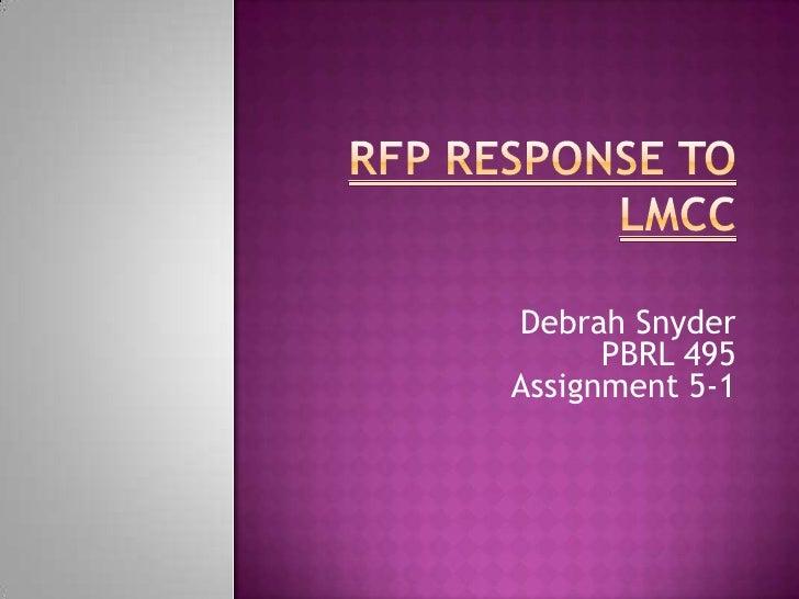 RFP Response to LMCC