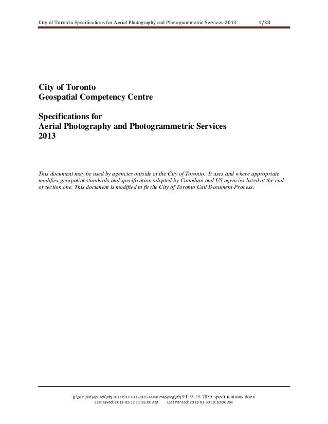 City of Toronto Specifications for Aerial Photography and Photogrammetric Services‐2013   1/38   City of Toronto Geospatia...