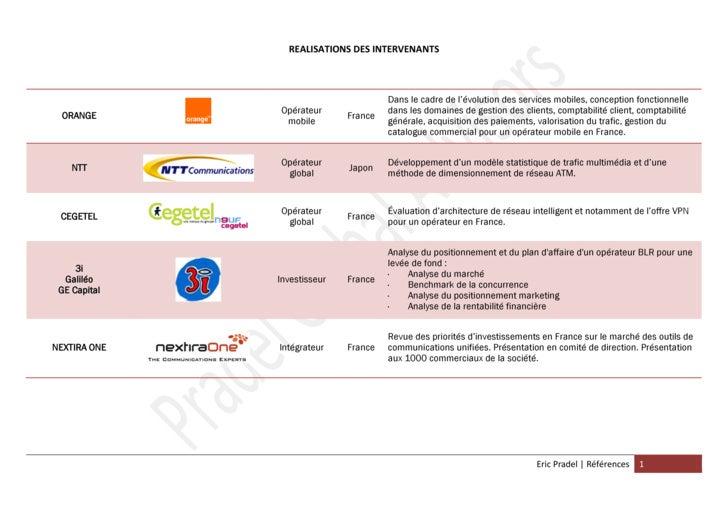 REALISATIONS DES INTERVENANTS                                          Dans le cadre de l'évolution des services mobiles, ...