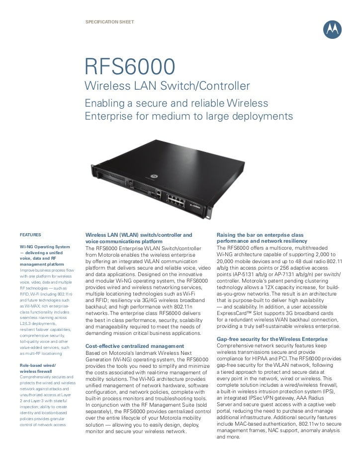 SPECIFICATION Sheet                                   RFS6000                                   Wireless LAN Switch/Contro...