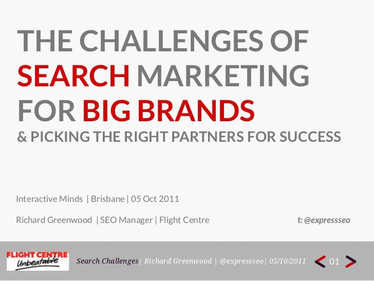 THE CHALLENGES OF <br />Search marketing<br />For big brands<br />& picking the right partners for success<br />Interactiv...