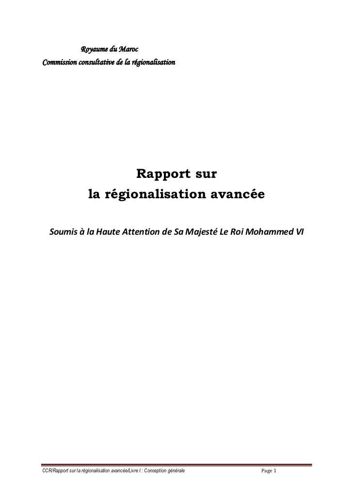 Royaume du MarocCommission consultative de la régionalisation                                               Rapport sur   ...