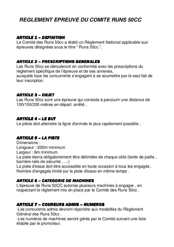 REGLEMENT EPREUVE DU COMITE RUNS 50CCARTICLE 1 – DEFINITIONLe Comité des Runs 50cc a établi un Règlement National applicab...