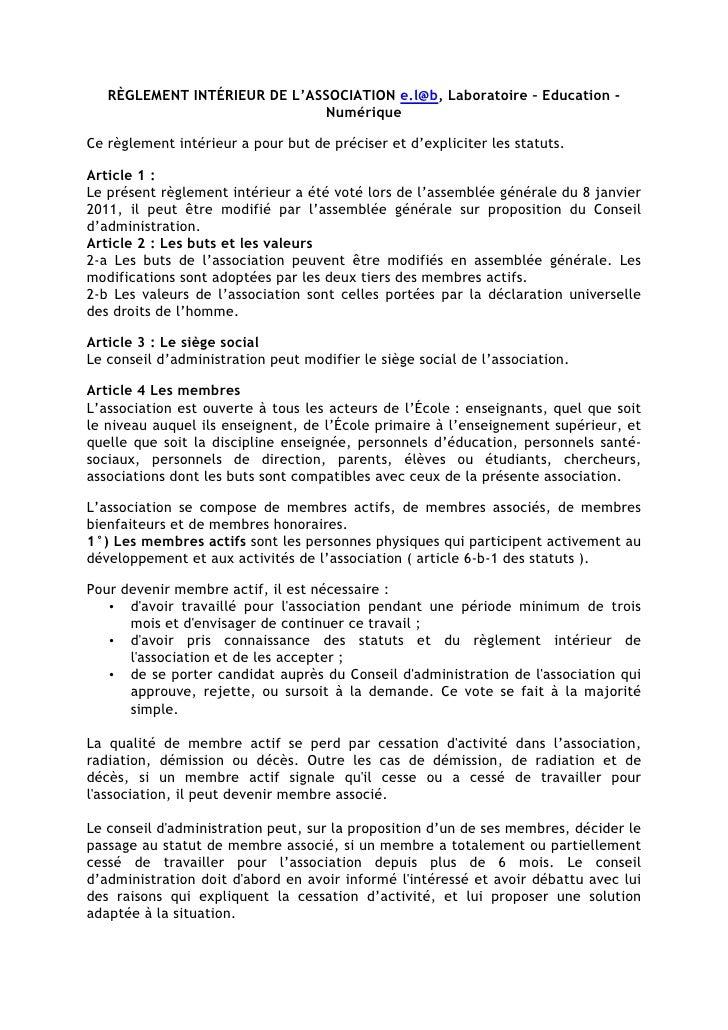 RÈGLEMENT INTÉRIEUR DE L'ASSOCIATION e.l@b, Laboratoire – Education -                              NumériqueCe règlement i...